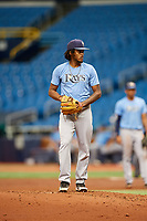 Miguel Lara (10) gets ready to deliver a pitch during the Tampa Bay Rays Instructional League Intrasquad World Series game on October 3, 2018 at the Tropicana Field in St. Petersburg, Florida.  (Mike Janes/Four Seam Images)