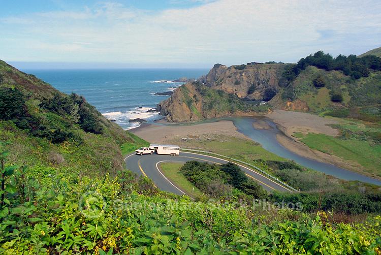 Coastline along Pacific West Coast at Community of Elk, California, USA