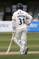 Adam Wheater of Essex wears a black armband in memory of Prince Philip, Duke of Edinburgh during Essex CCC vs Worcestershire CCC, LV Insurance County Championship Group 1 Cricket at The Cloudfm County Ground on 9th April 2021