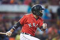 Erie SeaWolves shortstop Gustavo Nunez (12) at bat during a game against the Richmond Flying Squirrels on August 22, 2016 at Jerry Uht Park in Erie, Pennsylvania.  Erie defeated Richmond 4-2.  (Mike Janes/Four Seam Images)
