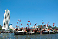 Sampans lined up in the harbour, Aberdeen, Hong Kong, China.
