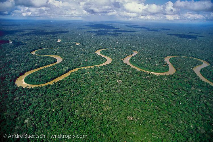 Rio Pinquen meandering through lowland tropical rainforest, Manu National Park, Madre de Dios, Peru.