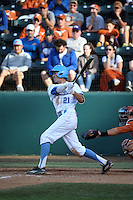Luke Persico (21) of the UCLA Bruins bats against the Texas Longhorns at Jackie Robinson Stadium on March 12, 2016 in Los Angeles, California. UCLA defeated Texas, 5-4. (Larry Goren/Four Seam Images)