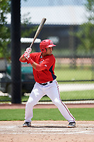 GCL Nationals designated hitter Wilmer Perez (14) at bat during a game against the GCL Mets on August 4, 2018 at FITTEAM Ballpark of the Palm Beaches in West Palm Beach, Florida.  GCL Nationals defeated GCL Mets 7-4.  (Mike Janes/Four Seam Images)