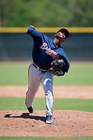 Atlanta Braves pitcher Luis De Jesus (68) during a Minor League Extended Spring Training game against the Tampa Bay Rays on April 15, 2019 at CoolToday Park Training Complex in North Port, Florida.  (Mike Janes/Four Seam Images)