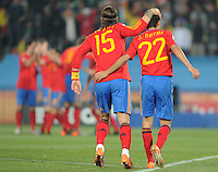 Defender Sergio Raos and midfielder Jesus Navas celebrate Spain's second goal. Spain defeated Honduras, 2-0, in their second match of play in Group H  in a match played Monday, June 21st, at Ellis Park in Johannesburg, South Africa at the 2010 FIFA World Cup..