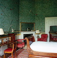 Chinese wallpaper from the 1830s covers the walls of the Wellington Dressing Room, which features a corner and a Regency lit bateau