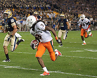 Miami punt returner Travis Benjamin had this punt return for a touchdown called back due to penalty. The Miami Hurricanes defeated the Pittsburgh Panthers 31-3 at Heinz Field, Pittsburgh, Pennsylvania on September 23, 2010.