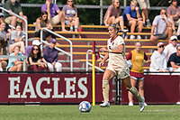 NEWTON, MA - SEPTEMBER 12: Laura Gouvin #8 of Boston College brings the ball forward during a game between Holy Cross and Boston College at Newton Campus Soccer Field on September 12, 2021 in Newton, Massachusetts.