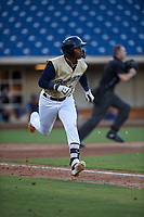 AZL Brewers Gold Francis Florentino (26) runs to first base during an Arizona League game against the AZL Brewers Blue on July 13, 2019 at American Family Fields of Phoenix in Phoenix, Arizona. The AZL Brewers Blue defeated the AZL Brewers Gold 6-0. (Zachary Lucy/Four Seam Images)