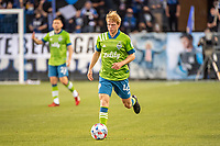 SAN JOSE, CA - MAY 12: Ethan Dobbelaere  #45 of the Seattle Sounders dribbles the ball during a game between San Jose Earthquakes and Seattle Sounders FC at PayPal Park on May 12, 2021 in San Jose, California.