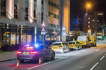 © Joel Goodman - 07973 332324 . 10/08/2017. Salford, UK. Police and paramedics at the scene at the Ibis hotel in Salford Quays where a young boy was killed in a collision with a car earlier this evening (Thursday 10th August 2017) . Photo credit : Joel Goodman