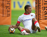 20120803 Copyright onEdition 2012©.Free for editorial use image, please credit: onEdition..Nathan Earle of Saracens scores a try against Sale Sharks 7s at The Recreation Ground, Bath in the Final round of The J.P. Morgan Asset Management Premiership Rugby 7s Series...The J.P. Morgan Asset Management Premiership Rugby 7s Series kicked off again for the third season on Friday 13th July at The Stoop, Twickenham with Pool B being played at Edgeley Park, Stockport on Friday, 20th July, Pool C at Kingsholm Gloucester on Thursday, 26th July and the Final being played at The Recreation Ground, Bath on Friday 3rd August. The innovative tournament, which involves all 12 Premiership Rugby clubs, offers a fantastic platform for some of the country's finest young athletes to be exposed to the excitement, pressures and skills required to compete at an elite level...The 12 Premiership Rugby clubs are divided into three groups for the tournament, with the winner and runner up of each regional event going through to the Final. There are six games each evening, with each match consisting of two 7 minute halves with a 2 minute break at half time...For additional images please go to: http://www.w-w-i.com/jp_morgan_premiership_sevens/..For press contacts contact: Beth Begg at brandRapport on D: +44 (0)20 7932 5813 M: +44 (0)7900 88231 E: BBegg@brand-rapport.com..If you require a higher resolution image or you have any other onEdition photographic enquiries, please contact onEdition on 0845 900 2 900 or email info@onEdition.com.This image is copyright the onEdition 2012©..This image has been supplied by onEdition and must be credited onEdition. The author is asserting his full Moral rights in relation to the publication of this image. Rights for onward transmission of any image or file is not granted or implied. Changing or deleting Copyright information is illegal as specified in the Copyright, Design and Patents Act 1988. If you are in any way unsure of your right to publish this image