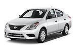 2015 Nissan Versa 1.6 SV CVT 4 Door Sedan Angular Front stock photos of front three quarter view