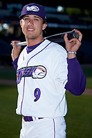 Winston-Salem Dash outfielder Blake Rutherford (9) poses for a photo prior to the game against the Lynchburg Hillcats at BB&T Ballpark on May 3, 2018 in Winston-Salem, North Carolina. The Dash defeated the Hillcats 5-3. (Brian Westerholt/Four Seam Images)