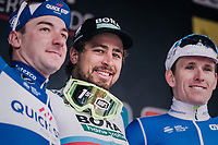 World Champion Peter Sagan (SVK/Bora-Hansgrohe) wins the race for a 3rd time in his career.<br /> Elia Viviani (ITA/QuickStep Floors) finishes 2nd & Arnaud Démare (FRA/Groupama-FDJ) 3rd<br /> <br /> 81st Gent-Wevelgem in Flanders Fields (1.UWT)<br /> Deinze > Wevelgem (251km)