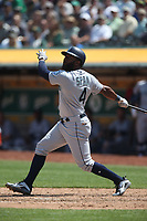 OAKLAND, CA - AUGUST 15:  Denard Span #4 of the Seattle Mariners bats against the Oakland Athletics during the game at the Oakland Coliseum on Wednesday, August 15, 2018 in Oakland, California. (Photo by Brad Mangin)