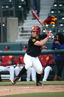 Brady Shockey #23 of the Southern California Trojans bats against the Coppin State Eagles at Dedeaux Field on February 18, 2017 in Los Angeles, California. Southern California defeated Coppin State, 22-2. (Larry Goren/Four Seam Images)