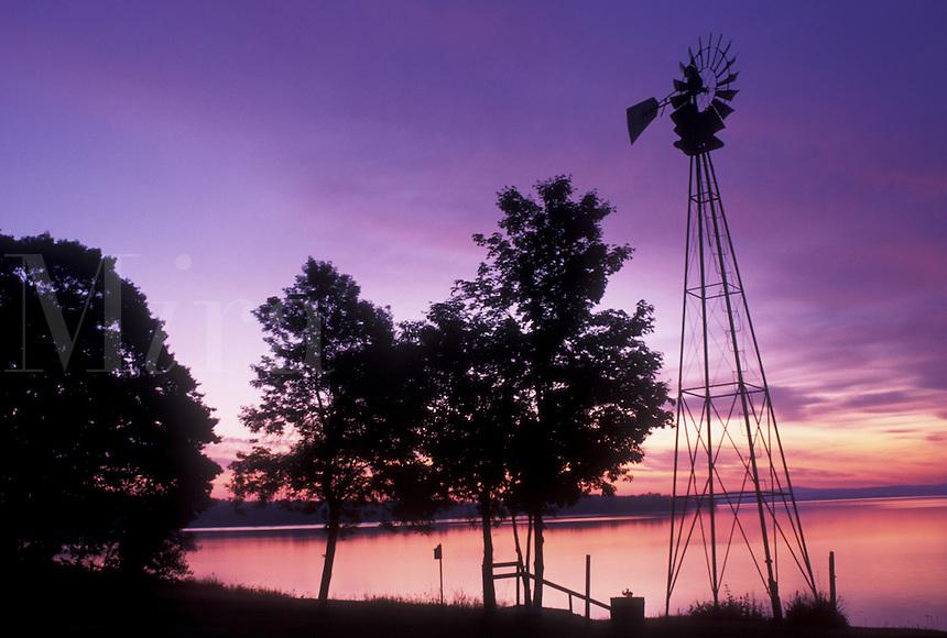 sunrise, windmill, Vermont, VT, South Hero, [Sunrise, sunset] on Keeler Bay on Lake Champlain.