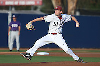 Brenton Arriaga (29) of the Loyola Marymount Lions pitches during a game against the TCU Horned Frogs at Page Stadium on March 16, 2015 in Los Angeles, California. TCU defeated Loyola, 6-2. (Larry Goren/Four Seam Images)
