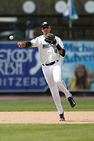 West Michigan Michigan Whitecaps shortstop Daniel Pinero (21) makes a throw to first base against the Fort Wayne TinCaps during the Midwest League baseball game on April 26, 2017 at Fifth Third Ballpark in Comstock Park, Michigan. West Michigan defeated Fort Wayne 8-2. (Andrew Woolley/Four Seam Images via AP Images)
