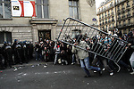 "©REMI OCHLIK/IP3; PARIS, FRANCE LE 14/03/06 - HEURTS ENTRE CRS ET MANIFESTANT ANTI-CPE DANS LE QUARTIER DE LA SORBONNE....The contrat premiere embauche (CPE), translated first employment contract, was a new form of employment contract pushed in spring 2006 in France by Prime Minister Dominique de Villepin. This employment contract, available solely to employees under 26, would have made it easier for the employer to fire employees by removing the need to provide reasons for dismissal for an initial ""trial period"" of two years, in exchange for some financial guarantees for employees. ....The law has met heavy resistance from students, trade unions, and left-wing activists, sparking protests in February and March 2006 (and continuing into April) with hundreds of thousands of participants in over 180 cities and towns across France"