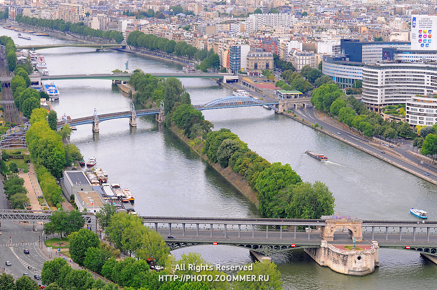Four old beautiful bridges over Seine river, Paris