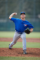 Toronto Blue Jays pitcher Connor Law (31) delivers a pitch during an Instructional League game against the Pittsburgh Pirates on October 13, 2017 at Pirate City in Bradenton, Florida.  (Mike Janes/Four Seam Images)