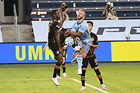 KANSAS, KS - AUGUST 25: Maynor Figueroa #15 of Houston Dynamo comes together with Johnny Russell #7 of Sporting Kansas City during a game between Houston Dynamo and Sporting Kansas City at Children's Mercy Park on August 25, 2020 in Kansas, Kansas.
