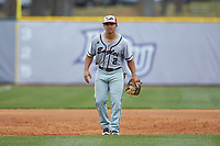 North Carolina Central Eagles third baseman Ellington Hopkins (2) on defense against the High Point Panthers at Williard Stadium on February 28, 2017 in High Point, North Carolina. The Eagles defeated the Panthers 11-5. (Brian Westerholt/Four Seam Images)