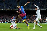 20th September 2021; Nou Camp, Barcelona, Spain; La Liga football league;  FC Barcelona versus Granada;   Menphys Depay gets his shot towards goal under pressure