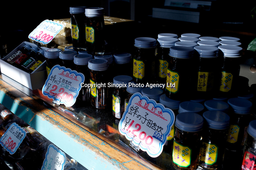 Jars of stone-fly larvae, silk worm larvae and bee larvae in a shop specializing in insects  in Ina City, Nagano Prefecture, Japan.