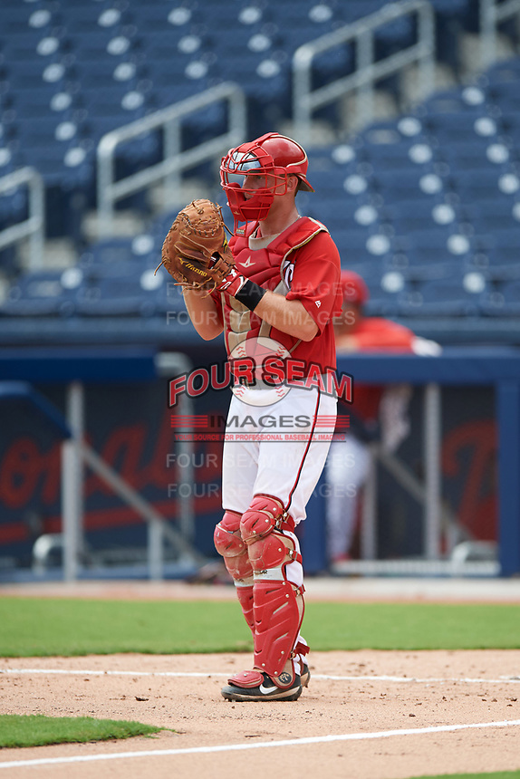 GCL Nationals catcher Alex Dunlap (27) during the second game of a doubleheader against the GCL Mets on July 22, 2017 at The Ballpark of the Palm Beaches in Palm Beach, Florida.  GCL Mets defeated the GCL Nationals 4-1.  (Mike Janes/Four Seam Images)