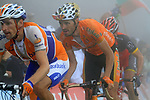 Denis Menchov (RUS) Rabobank and Samuel Sanchez (ESP)Euskaltel Eskadi approaches the summit finish of the Col du Tourmalet during a wet foggy Stage 17 of the 2010 Tour de France running 174km from Pau to Col du Tourmalet, France. 22nd July 2010.<br /> (Photo by Eoin Clarke/NEWSFILE).<br /> All photos usage must carry mandatory copyright credit (© NEWSFILE | Eoin Clarke)