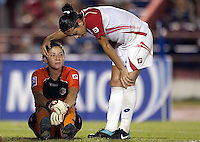 Dinnia Diaz of Costa Rica . USWNT defeated Costa Rica 4-0 in the 2010 CONCACAF Women's World Cup Qualifying tournament held at Estadio Quintana Roo in Cancun, Mexico on November 1st, 2010.