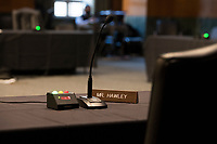 The place at the table for United States Senator Josh Hawley (Republican of Missouri) is empty during a Senate Committee on the Armed Services hearing to examine civilian control of the Armed Forces, in the Dirksen Senate Office Building in Washington, DC, Tuesday, January 12, 2021. Credit: Rod Lamkey / CNP /MediaPunch