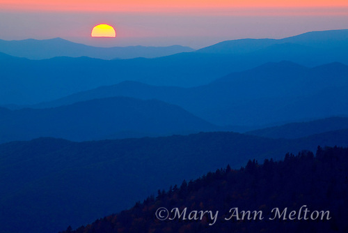 View of sunset and mountain ridges from Clingman's Dome, Great Smoky Mountains Nationa l Park