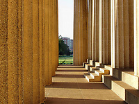 Early morning light shining on Parthenon entrance. Nashville, TN.