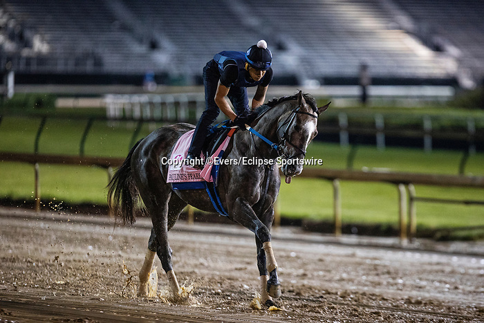 April 29, 2021: Paulines Pearl gallops in preparation for the Kentucky Oaks at Churchill Downs in Louisville, Kentucky on April 29, 2021. EversEclipse Sportswire/CSM