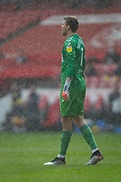 13th March 2021; Riverside Stadium, Middlesbrough, Cleveland, England; English Football League Championship Football, Middlesbrough versus Stoke City; Marcus Bettinelli of Middlesbrough in a heavy downpour
