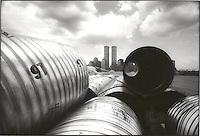 Construction debris and Manhattan skyline<br />