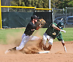 Runner slides into seond base in a playoff game between Damien High School and Mission Viejo High School.
