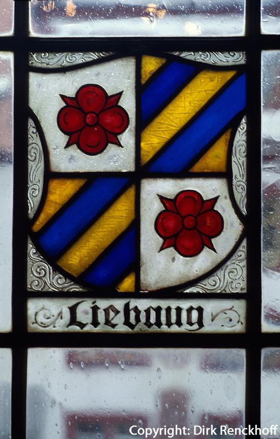 Deutschland, Schmalkalden in Thüringen, Schloss Wilhelmsburg, Wappen im Fesnter