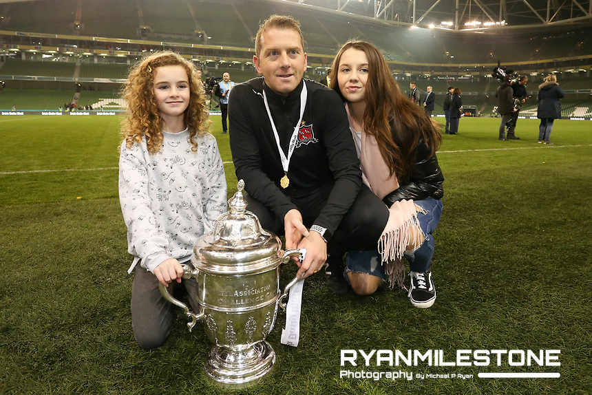 Vinny Perth celebrates with family at the end of the Irish Daily Mail FAI Cup Final between Dundalk and Cork City, on Sunday 4th November 2018, at the Aviva Stadium, Dublin. Mandatory Credit: Michael P Ryan.