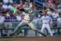 Vanderbilt Commodores starting pitcher Philip Pfeifer (22) delivers a pitch to the plate during the NCAA College baseball World Series against the TCU Horned Frogs on June 16, 2015 at TD Ameritrade Park in Omaha, Nebraska. Vanderbilt defeated TCU 1-0. (Andrew Woolley/Four Seam Images)