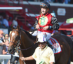 A.P. Indian (no. 11), ridden by Joe Bravo and trained by Arnaud Delacour, wins the 37th running of the grade 1 Forego Stakes for three year olds and upward on August 27, 2016 at Saratoga Race Course in Saratoga Springs, New York. (Bob Mayberger/Eclipse Sportswire)