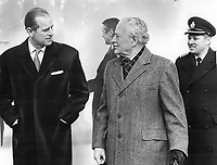 Prince Philip got a warm welcome to frosty Metro from former Governor-General Roland Michener when he arrived yesterday at Downsview Airport. The Prince is here for a series of planned sessions for his Commonwealth Study Conference; which will be held at Queen's University; Kingston.<br /> <br /> Photo : Boris Spremo - Toronto Star archives - AQP