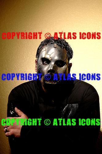 (#2) Paul Gray – bass guitar, backing vocals,.Slipknot Studio Portrait Session In Desmoines Iowa.Photo Credit: Eddie Malluk/Atlas Icons.com