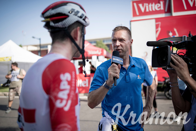 Tiesj Benoot (BEL/Lotto-Soudal) interviewed by Jens Voigt (working for the american NBC-Sports) at the finish line in Nîmes<br /> <br /> Stage 16: Nîmes to Nîmes(177km)<br /> 106th Tour de France 2019 (2.UWT)<br /> <br /> ©kramon