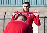 St Johnstone Training...<br />Goalkeeper Zander Clark pictured during training ahead of tomorrow nights Premier Sports Cup quarter final against Dundee<br />Picture by Graeme Hart.<br />Copyright Perthshire Picture Agency<br />Tel: 01738 623350  Mobile: 07990 594431